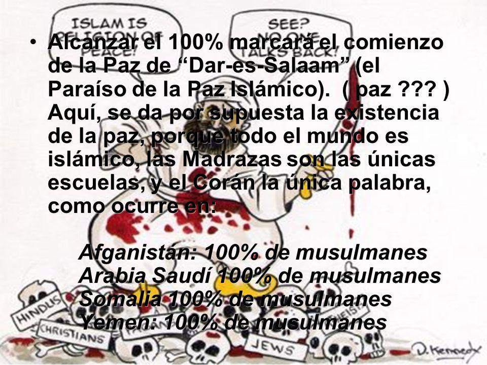 Alcanzar el 100% marcará el comienzo de la Paz de Dar-es-Salaam (el Paraíso de la Paz Islámico). ( paz ??? ) Aquí, se da por supuesta la existencia de