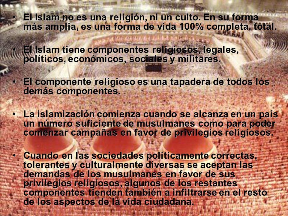 Éste es el caso de lo que ocurre en: Estados Unidos: 0,6% de musulmanes Australia: 1,5% de musulmanes Canadá: 1,9% de musulmanes China: 1,8% de musulmanes Italia: 1,5% de musulmanes Noruega: 1,8% de musulmanes Éste es el caso de lo que ocurre en: Estados Unidos: 0,6% de musulmanes Australia: 1,5% de musulmanes Canadá: 1,9% de musulmanes China: 1,8% de musulmanes Italia: 1,5% de musulmanes Noruega: 1,8% de musulmanes He aquí cómo funciona todo esto: En tanto la población musulmana permanezca alrededor, o por debajo del 2% de la de cualquier país, ésta será vista por la población local como una minoría amante de la paz, y no como una amenaza hacia los demás ciudadanos.