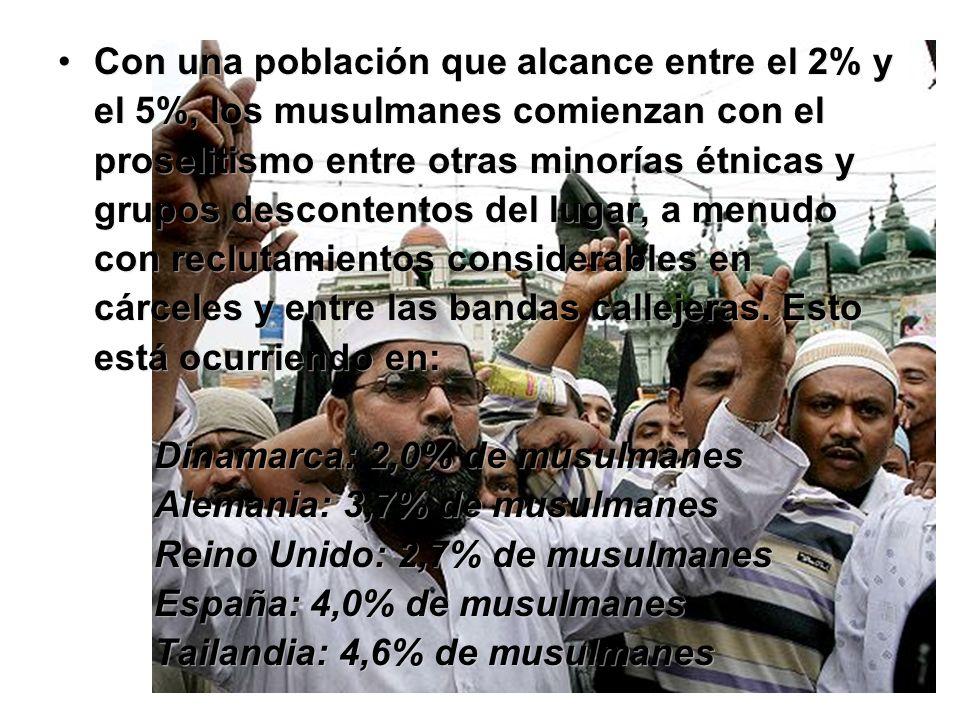 Con una población que alcance entre el 2% y el 5%, los musulmanes comienzan con el proselitismo entre otras minorías étnicas y grupos descontentos del