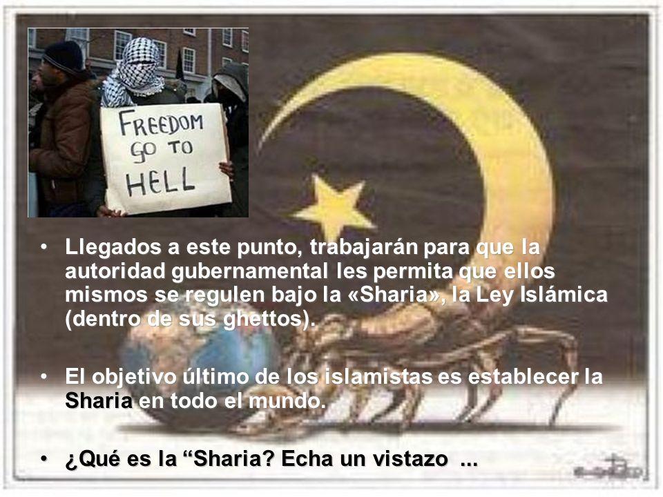 Llegados a este punto, trabajarán para que la autoridad gubernamental les permita que ellos mismos se regulen bajo la «Sharia», la Ley Islámica (dentr