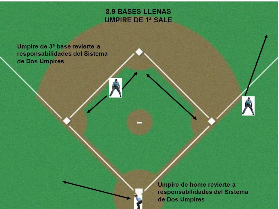 8.9 BASES LLENAS UMPIRE DE 1ª SALE Umpire de home revierte a responsabilidades del Sistema de Dos Umpires Umpire de 3ª base revierte a responsabilidad