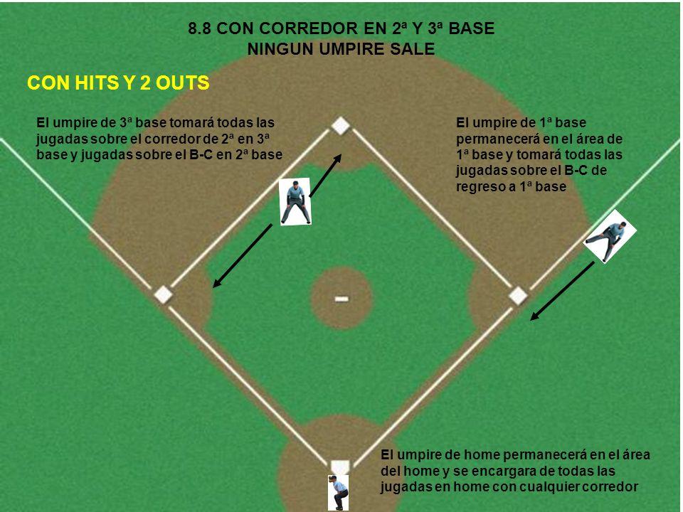 8.8 CON CORREDOR EN 2ª Y 3ª BASE NINGUN UMPIRE SALE CON HITS Y 2 OUTS El umpire de 1ª base permanecerá en el área de 1ª base y tomará todas las jugada