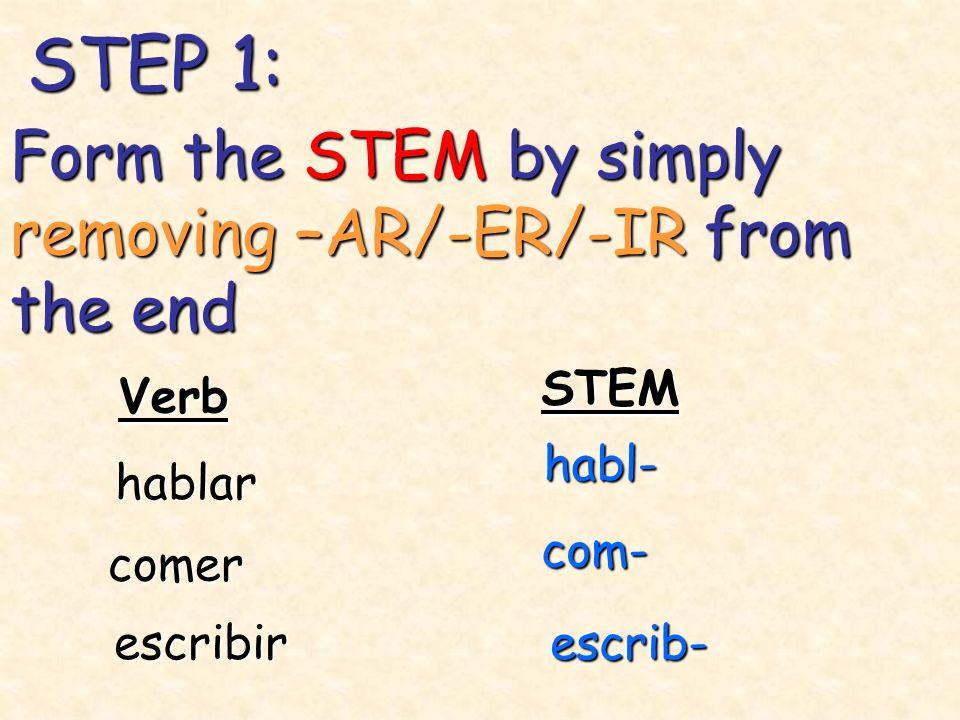 STEP 1: Verb STEM hablar habl- comer com- Form the STEM by simply removing –AR/-ER/-IR from the end escribirescrib-