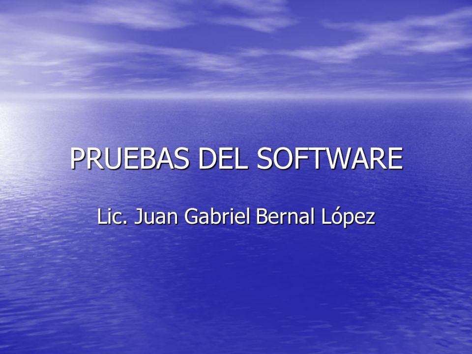 PRUEBAS DEL SOFTWARE Lic. Juan Gabriel Bernal López