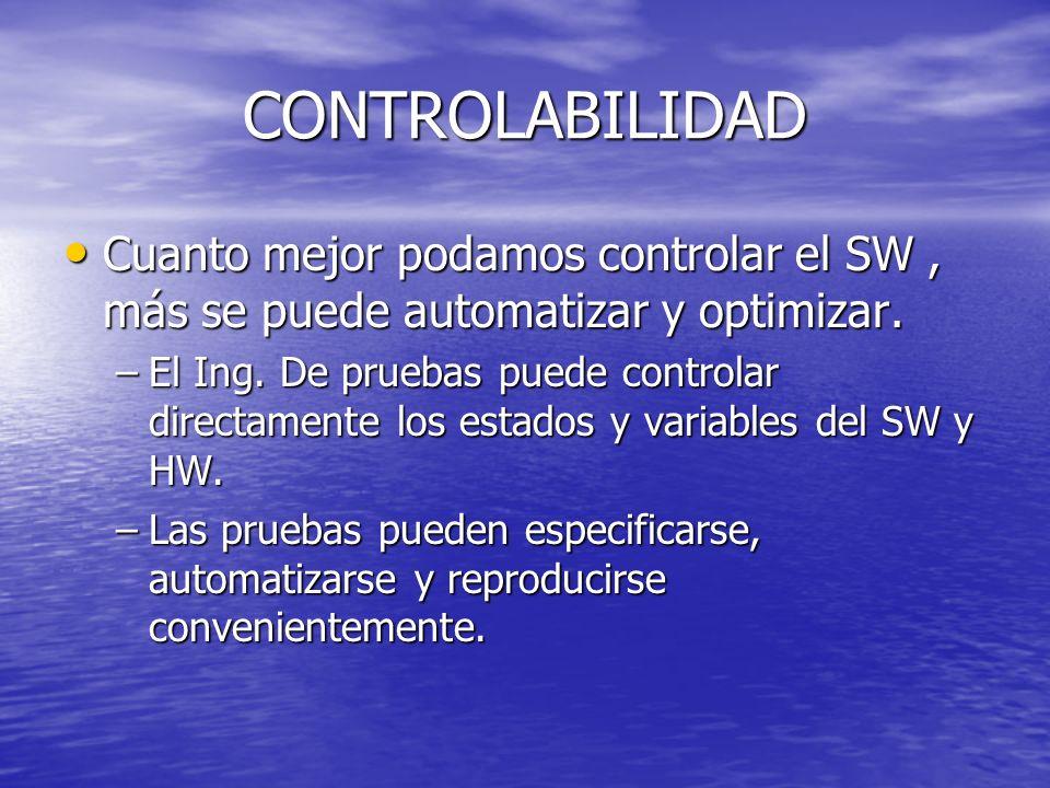 CONTROLABILIDAD Cuanto mejor podamos controlar el SW, más se puede automatizar y optimizar. Cuanto mejor podamos controlar el SW, más se puede automat