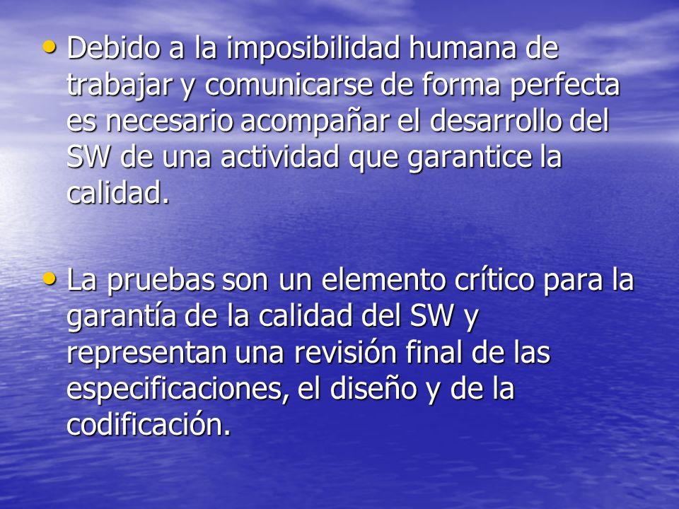 No es raro que una organización de desarrollo de SW emplee entre el 30 y el 40 por ciento del esfuerzo total del proyecto en las pruebas.