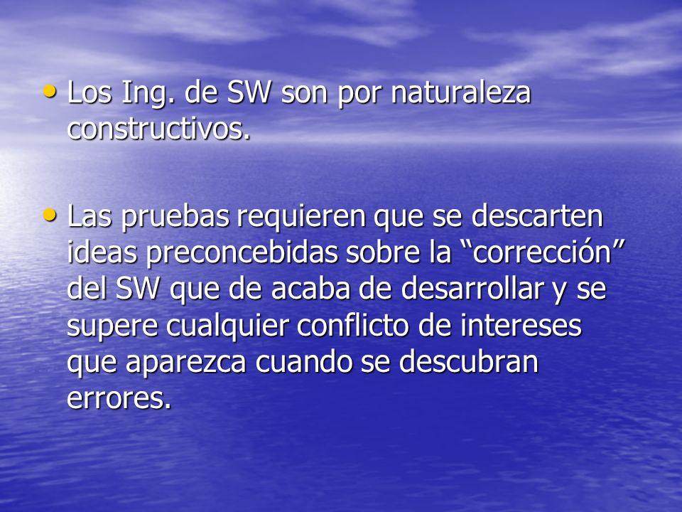Los Ing. de SW son por naturaleza constructivos. Los Ing. de SW son por naturaleza constructivos. Las pruebas requieren que se descarten ideas preconc