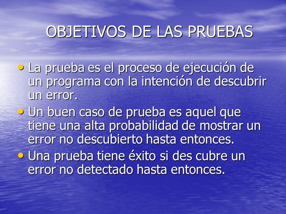 OBJETIVOS DE LAS PRUEBAS La prueba es el proceso de ejecución de un programa con la intención de descubrir un error. La prueba es el proceso de ejecuc
