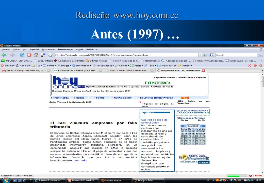 Antes (1997) … Páginas excluidas (eficencia) formatos no rastreables (pdf, doc, zip) información efímera (clima, trasporte) Recursos protegidos (derec