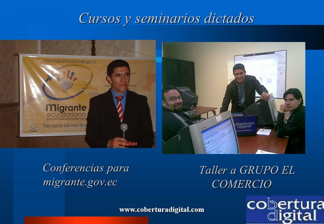 www.coberturadigital.com Cursos y seminarios dictados Cursos y seminarios dictados Conferencias para migrante.gov.ec Conferencias para migrante.gov.ec