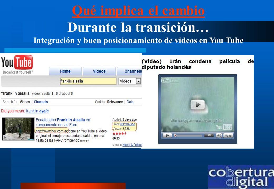Qué implica el cambio Qué implica el cambio Durante la transición… Integración y buen posicionamiento de videos en You Tube