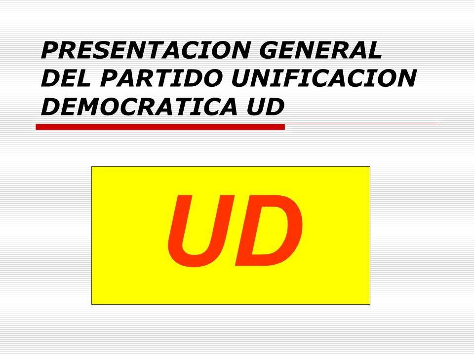 PRESENTACION GENERAL DEL PARTIDO UNIFICACION DEMOCRATICA UD UD.