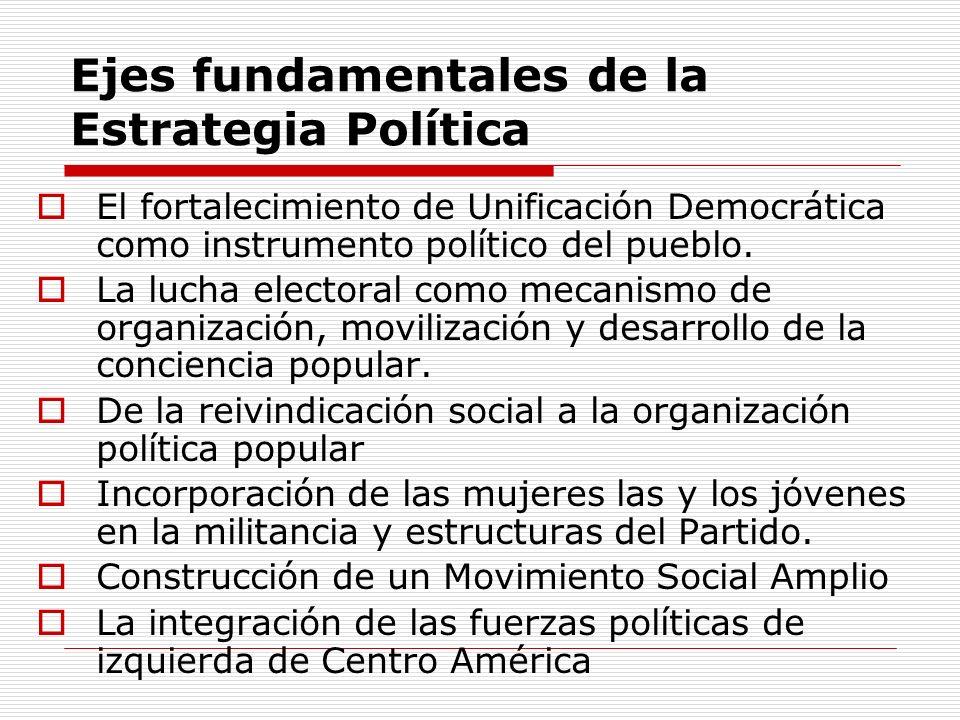 Ejes fundamentales de la Estrategia Política El fortalecimiento de Unificación Democrática como instrumento político del pueblo.