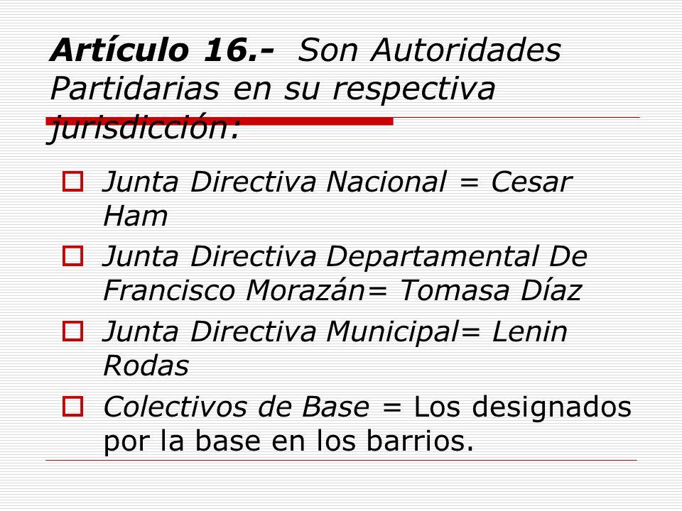 Artículo 35.- La Junta Directiva Nacional estará integrada por trece (13) miembros en el orden siguiente: