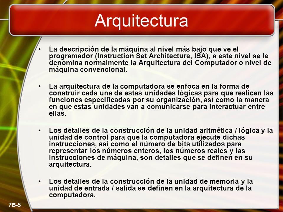 7B-5 La descripción de la máquina al nivel más bajo que ve el programador (Instruction Set Architecture, ISA), a este nivel se le denomina normalmente