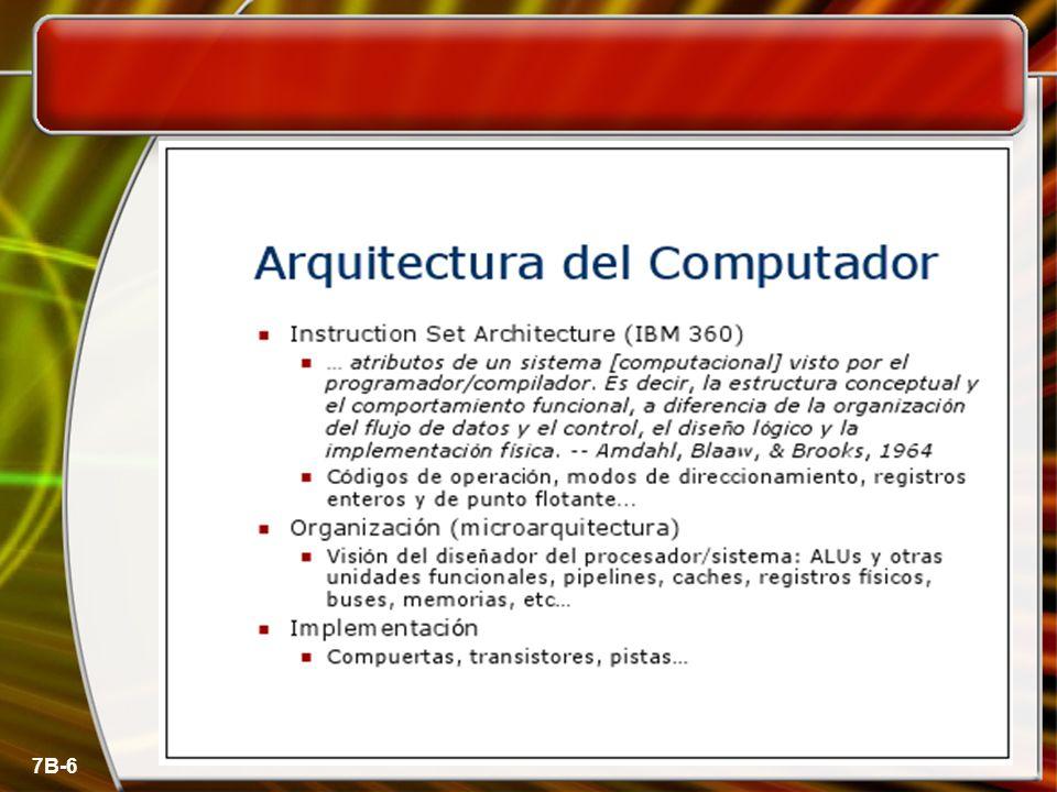 7B-7 Ejemplos de Arquitectura Conjunto de instrucciones de maquina Tamaño de tipos de datos básicos (en bits) Mecanismos de E/S Técnicas de direccionamiento