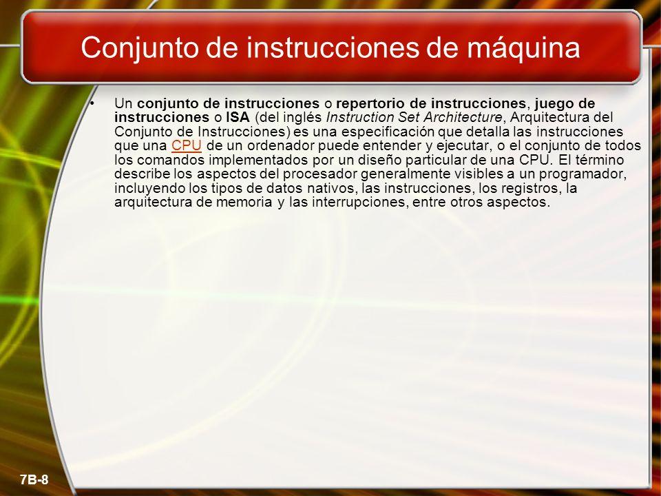 7B-8 Conjunto de instrucciones de máquina Un conjunto de instrucciones o repertorio de instrucciones, juego de instrucciones o ISA (del inglés Instruc