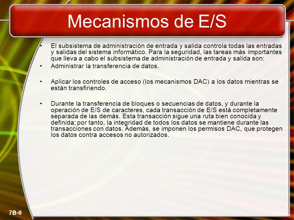 7B-9 Mecanismos de E/S El subsistema de administración de entrada y salida controla todas las entradas y salidas del sistema informático. Para la segu