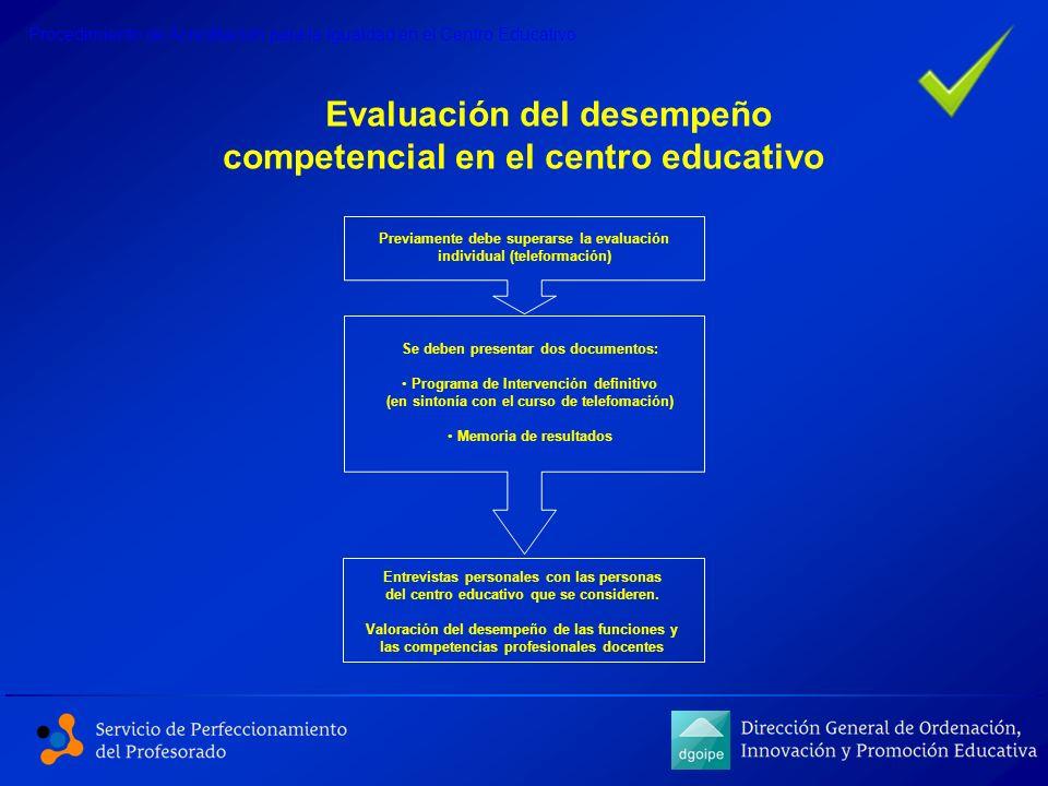 Evaluación del desempeño competencial en el centro educativo Procedimiento de Acreditación para la Igualdad en el Centro Educativo Previamente debe su