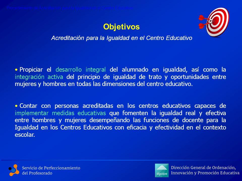 Objetivos Propiciar el desarrollo integral del alumnado en igualdad, así como la integración activa del principio de igualdad de trato y oportunidades