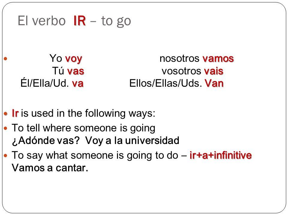 IR El verbo IR – to go voyvamos vasvais va Van Yo voy nosotros vamos Tú vas vosotros vais Él/Ella/Ud. va Ellos/Ellas/Uds. Van Ir Ir is used in the fol