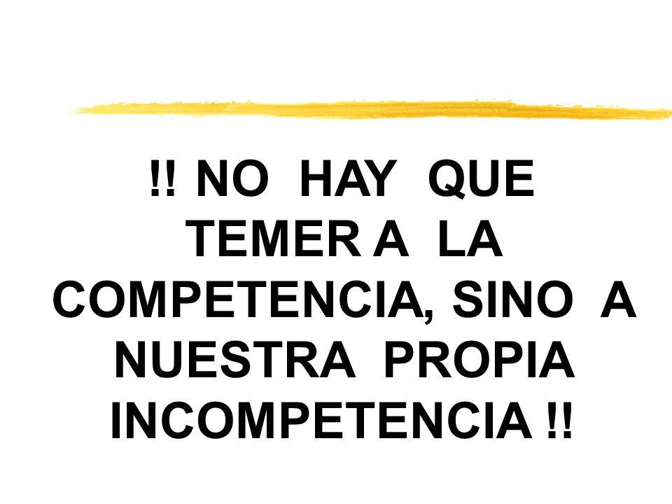 !! NO HAY QUE TEMER A LA COMPETENCIA, SINO A NUESTRA PROPIA INCOMPETENCIA !!