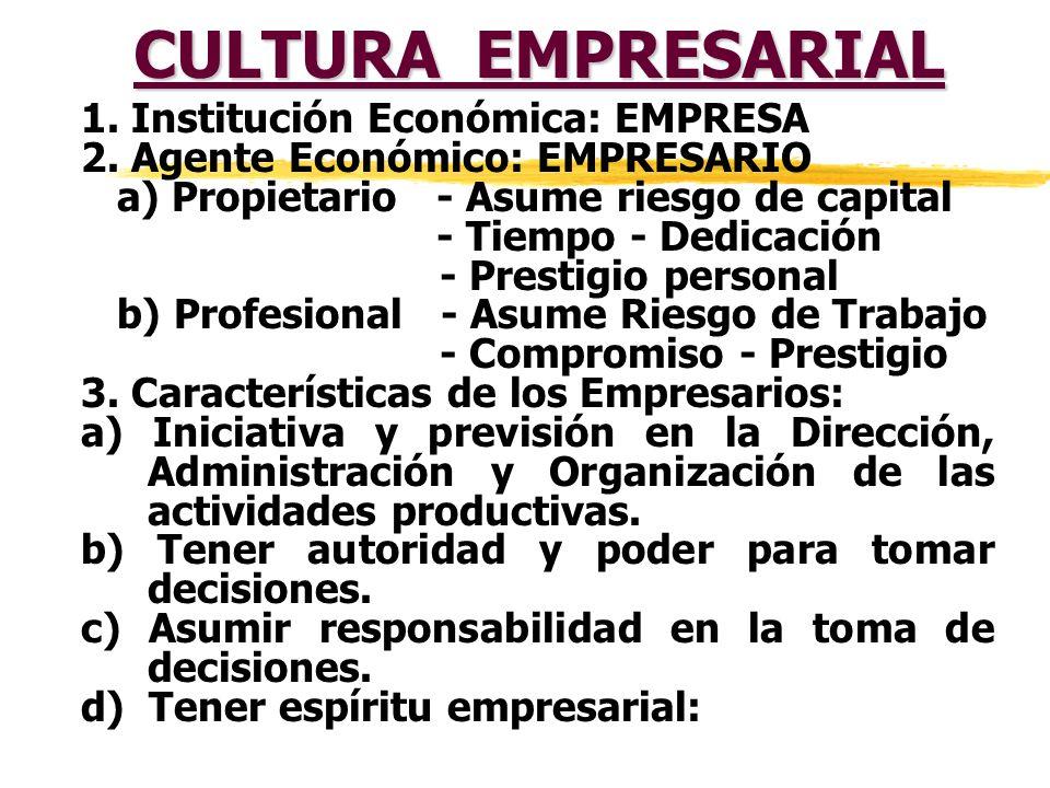 CULTURA EMPRESARIAL 1.Institución Económica: EMPRESA 2.