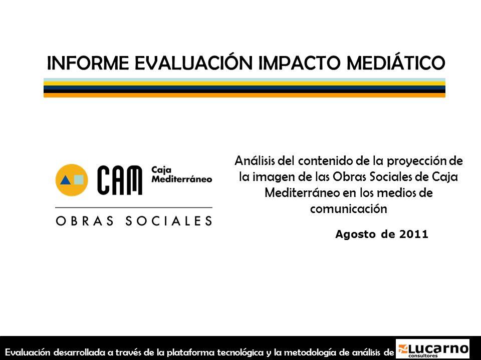 INFORME EVALUACIÓN IMPACTO MEDIÁTICO Análisis del contenido de la proyección de la imagen de las Obras Sociales de Caja Mediterráneo en los medios de