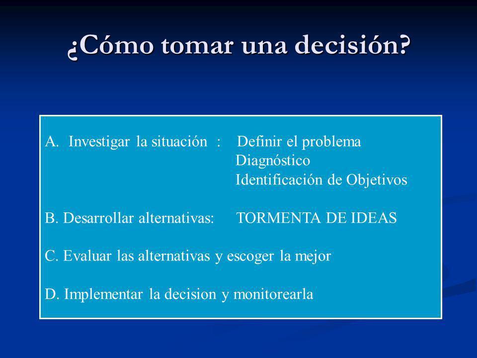 ¿Cómo tomar una decisión? A.Investigar la situación : Definir el problema Diagnóstico Identificación de Objetivos B. Desarrollar alternativas: TORMENT