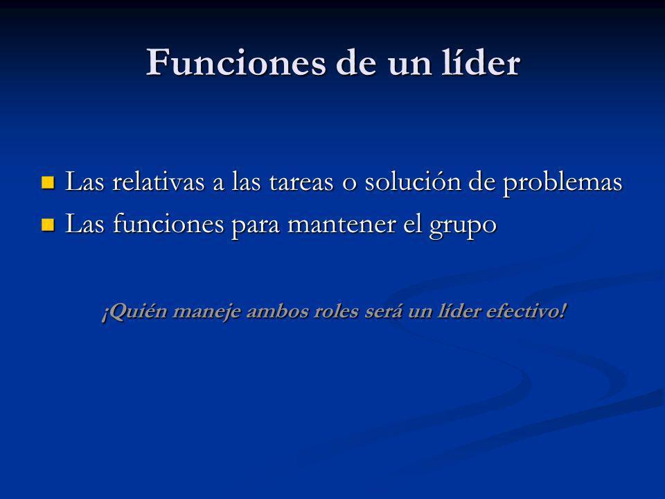 Funciones de un líder Las relativas a las tareas o solución de problemas Las relativas a las tareas o solución de problemas Las funciones para mantene