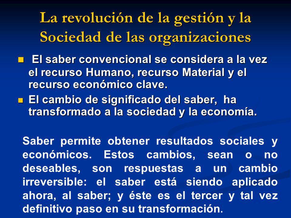 La revolución de la gestión y la Sociedad de las organizaciones El saber convencional se considera a la vez el recurso Humano, recurso Material y el r