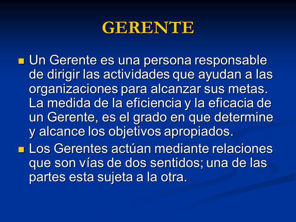 GERENTE Un Gerente es una persona responsable de dirigir las actividades que ayudan a las organizaciones para alcanzar sus metas. La medida de la efic