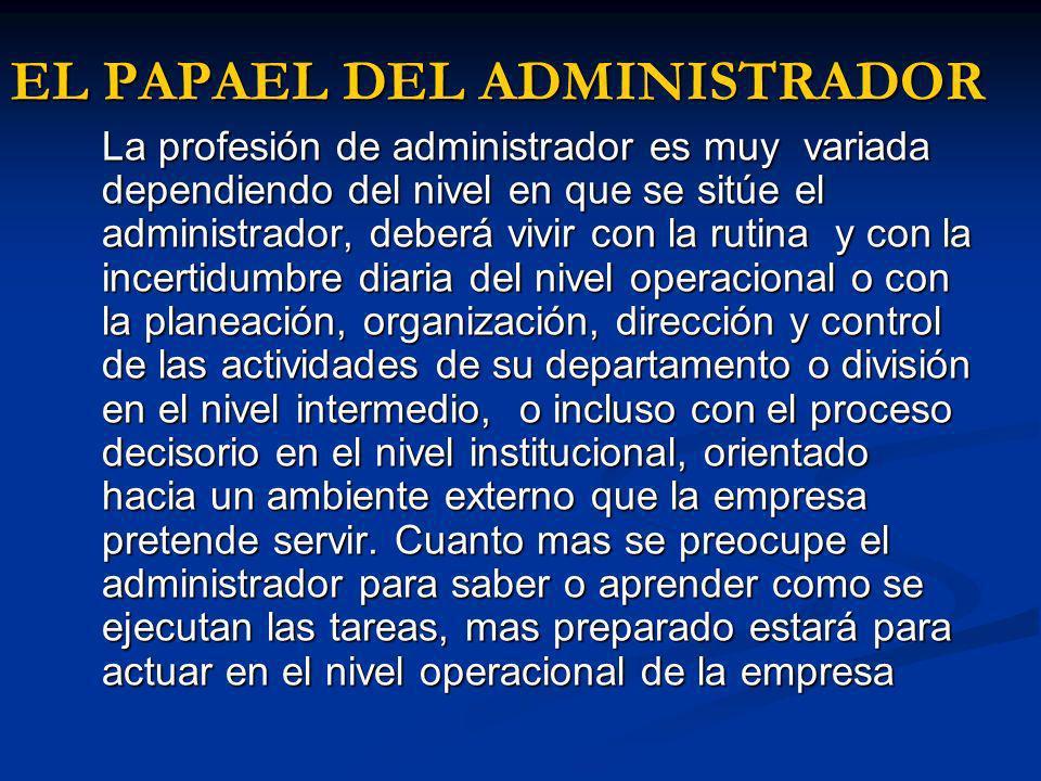 EL PAPAEL DEL ADMINISTRADOR La profesión de administrador es muy variada dependiendo del nivel en que se sitúe el administrador, deberá vivir con la r