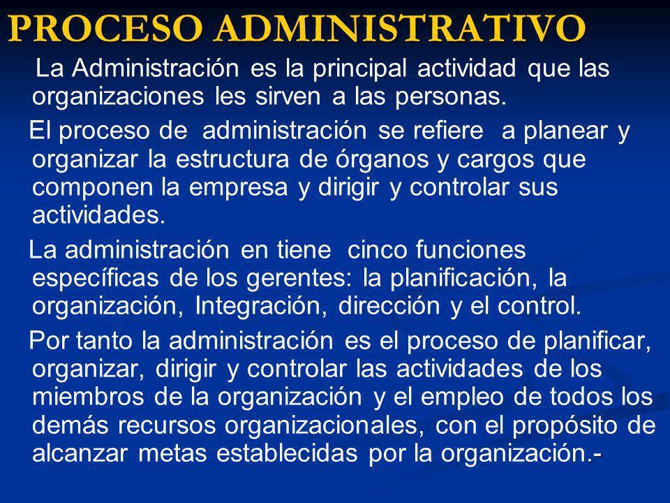 PROCESO ADMINISTRATIVO La Administración es la principal actividad que las organizaciones les sirven a las personas. El proceso de administración se r