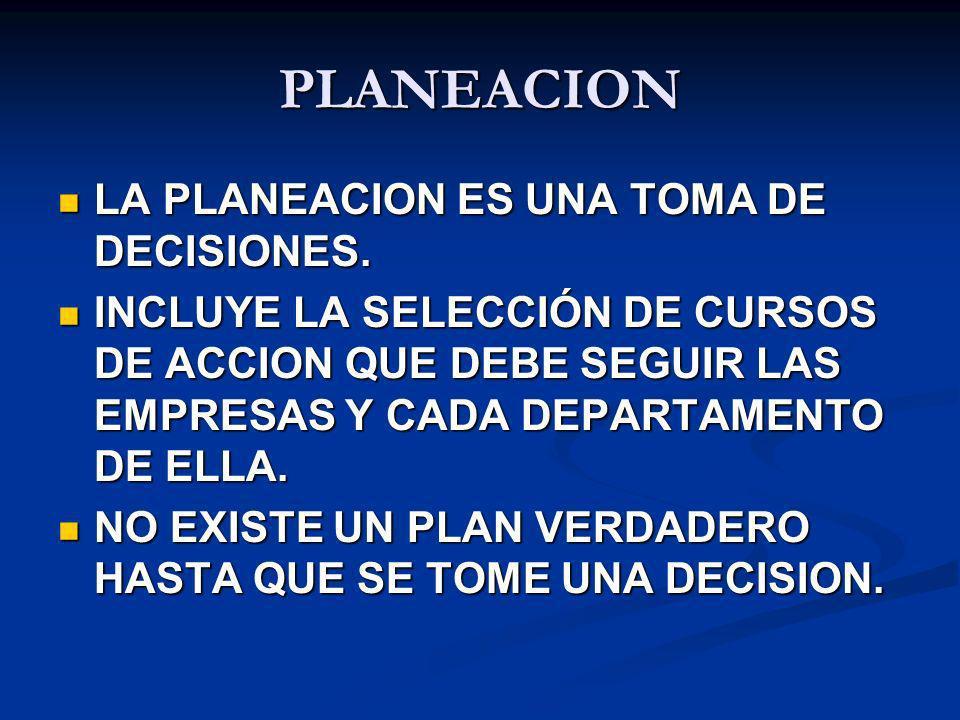 PLANEACION LA PLANEACION ES UNA TOMA DE DECISIONES. LA PLANEACION ES UNA TOMA DE DECISIONES. INCLUYE LA SELECCIÓN DE CURSOS DE ACCION QUE DEBE SEGUIR