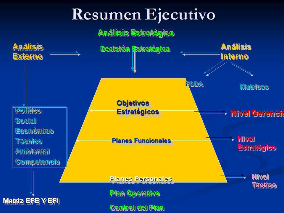 Resumen Ejecutivo Análisis Externo Análisis Interno Análisis Estratégico Decisión Estratégica Control del Plan Plan Operativo Objetivos Estratégicos P