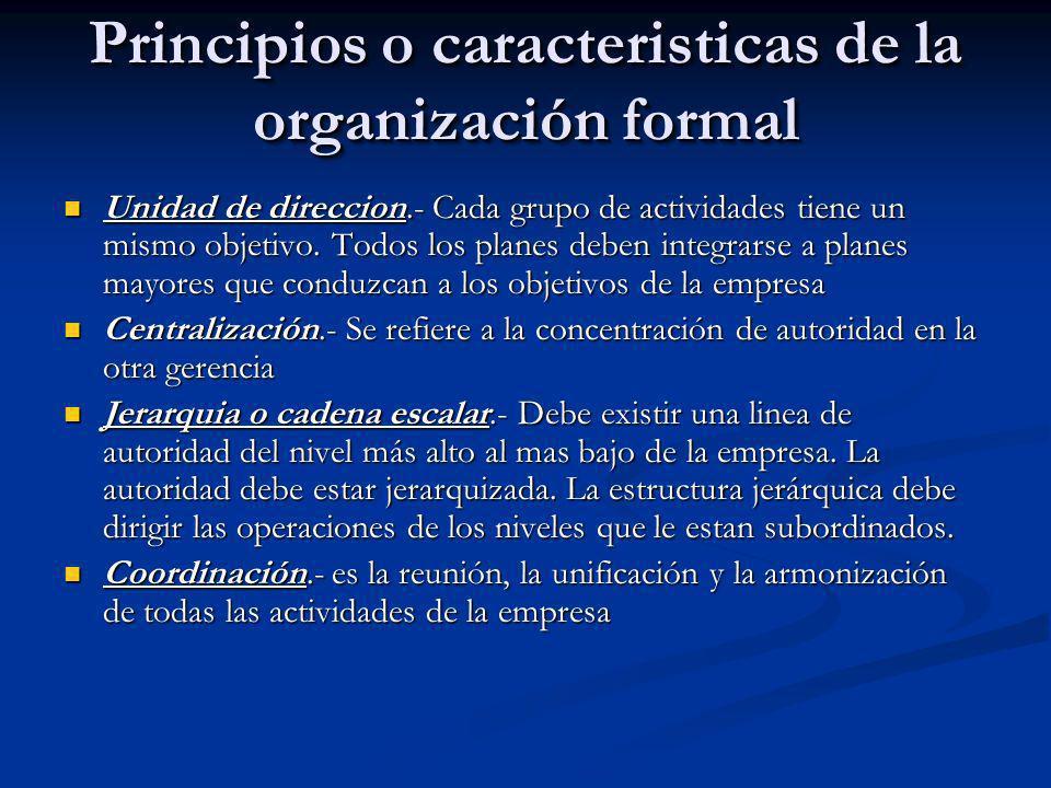 Principios o caracteristicas de la organización formal Unidad de direccion.- Cada grupo de actividades tiene un mismo objetivo. Todos los planes deben