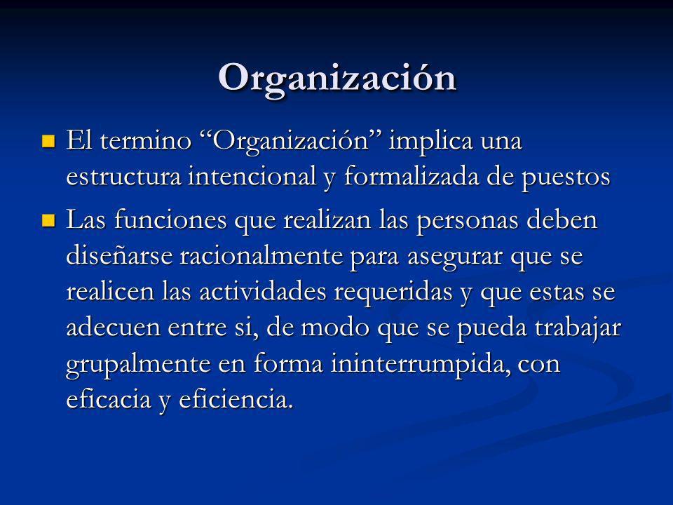 OrganizaciónOrganización El termino Organización implica una estructura intencional y formalizada de puestos El termino Organización implica una estru