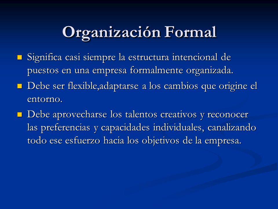Organización Formal Significa casi siempre la estructura intencional de puestos en una empresa formalmente organizada. Significa casi siempre la estru