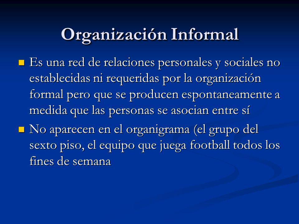 Organización Informal Es una red de relaciones personales y sociales no establecidas ni requeridas por la organización formal pero que se producen esp