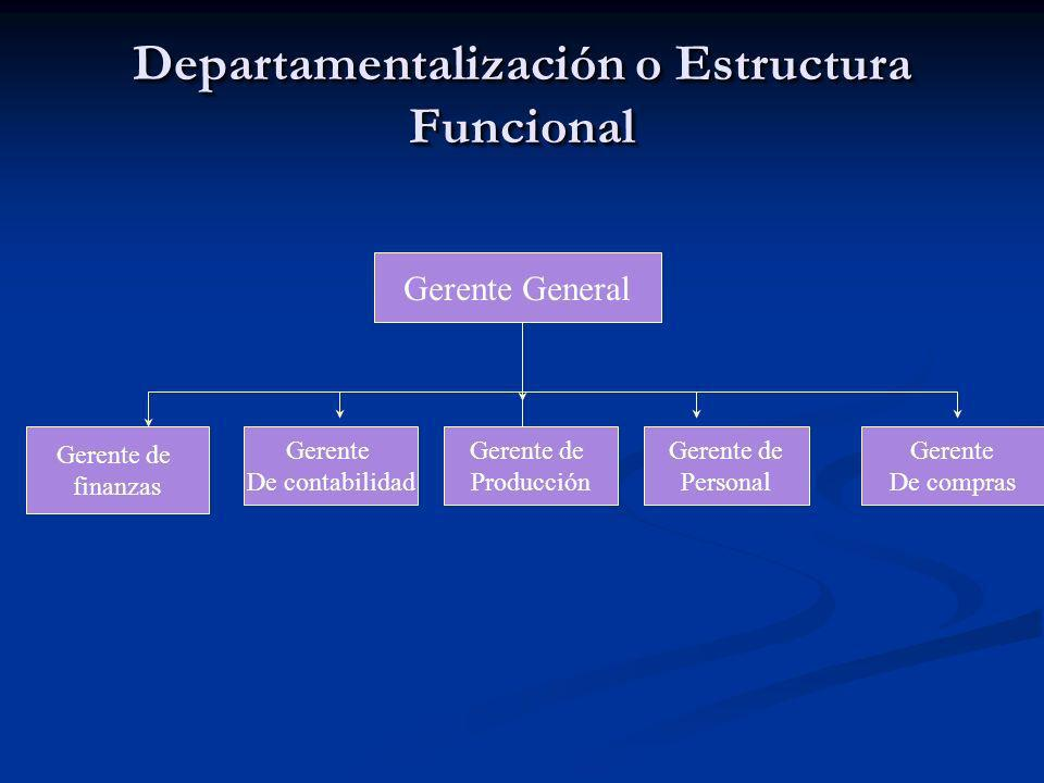Departamentalización o Estructura Funcional Gerente General Gerente de finanzas Gerente De contabilidad Gerente De compras Gerente de Personal Gerente