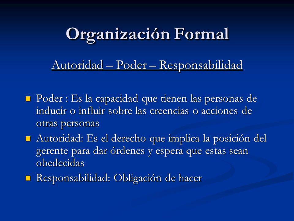Organización Formal Autoridad – Poder – Responsabilidad Poder : Es la capacidad que tienen las personas de inducir o influir sobre las creencias o acc