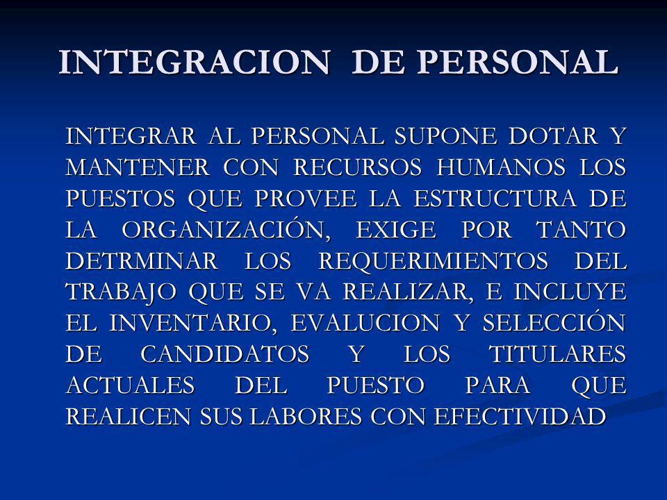 INTEGRACION DE PERSONAL INTEGRACION DE PERSONAL INTEGRAR AL PERSONAL SUPONE DOTAR Y MANTENER CON RECURSOS HUMANOS LOS PUESTOS QUE PROVEE LA ESTRUCTURA
