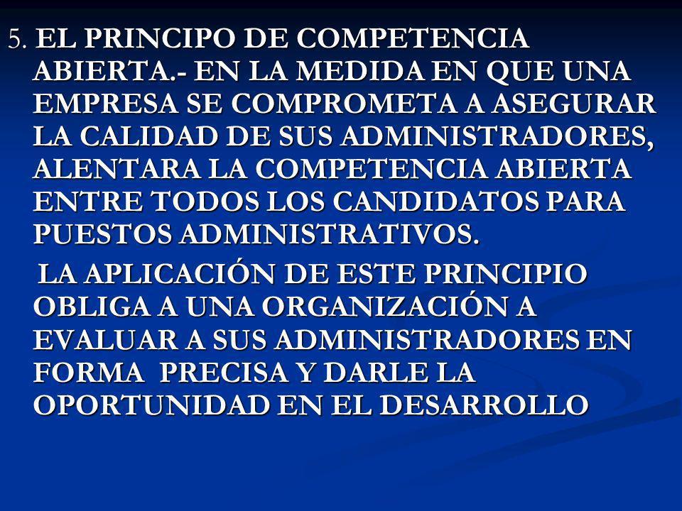 5. EL PRINCIPO DE COMPETENCIA ABIERTA.- EN LA MEDIDA EN QUE UNA EMPRESA SE COMPROMETA A ASEGURAR LA CALIDAD DE SUS ADMINISTRADORES, ALENTARA LA COMPET