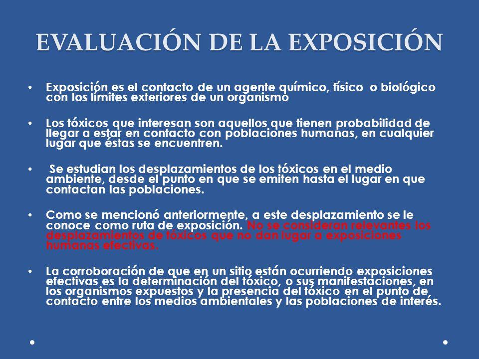 EVALUACIÓN DE LA EXPOSICIÓN Exposición es el contacto de un agente químico, físico o biológico con los límites exteriores de un organismo Los tóxicos
