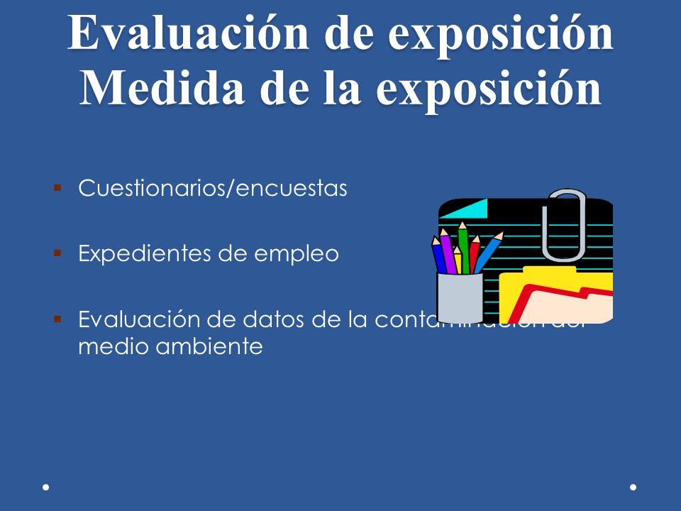 Evaluación de exposición Medida de la exposición Cuestionarios/encuestas Expedientes de empleo Evaluación de datos de la contaminación del medio ambie