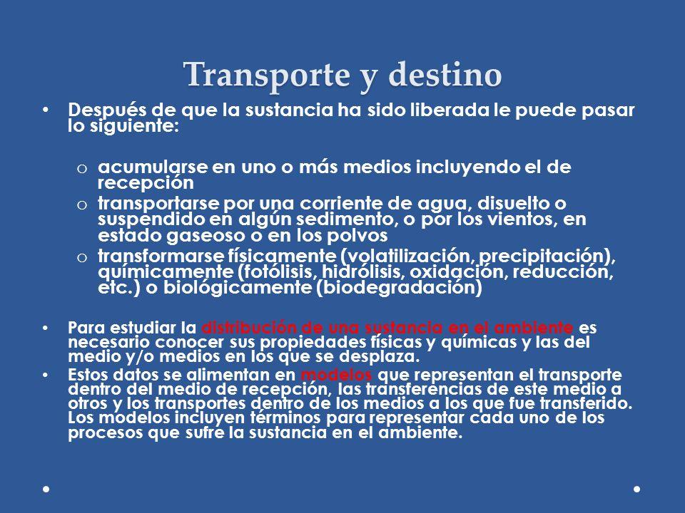 Transporte y destino Después de que la sustancia ha sido liberada le puede pasar lo siguiente: o acumularse en uno o más medios incluyendo el de recep