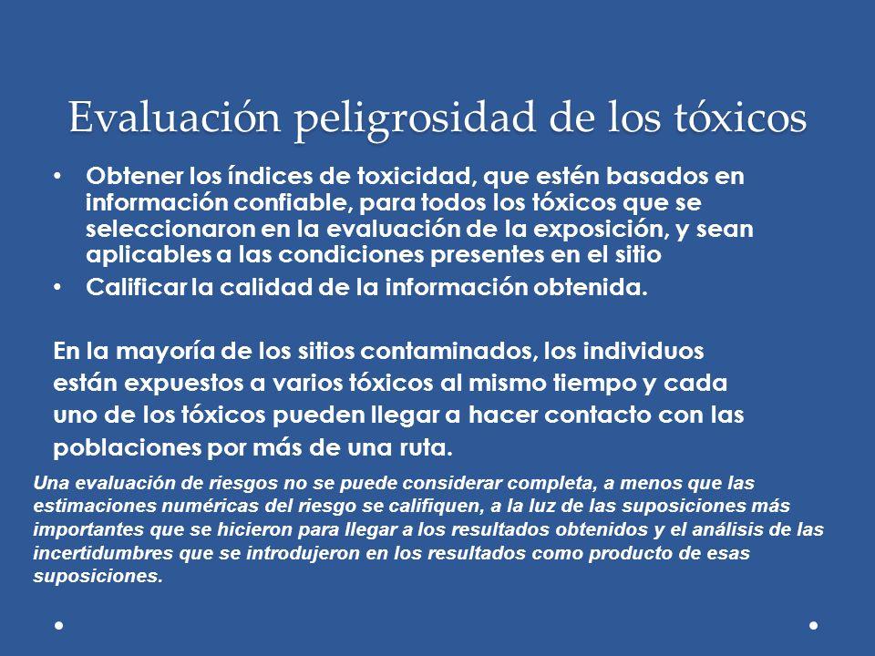 Evaluación peligrosidad de los tóxicos Obtener los índices de toxicidad, que estén basados en información confiable, para todos los tóxicos que se sel