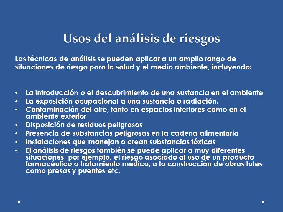 Usos del análisis de riesgos Las técnicas de análisis se pueden aplicar a un amplio rango de situaciones de riesgo para la salud y el medio ambiente,