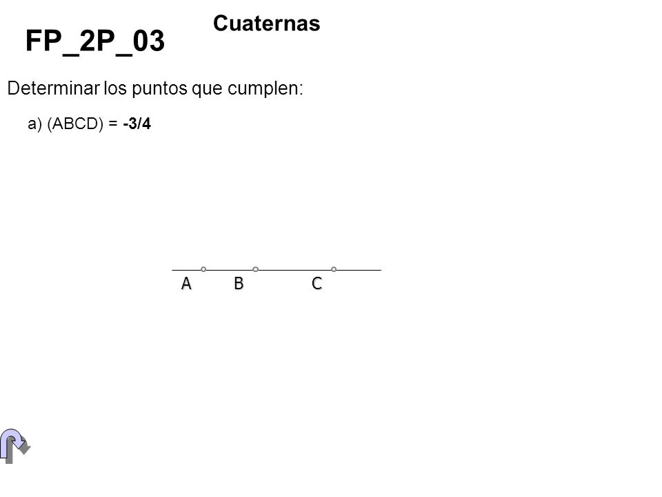 Determinar los puntos que cumplen: FP_2P_03 Cuaternas a) (ABCD) = -3/4 ABC
